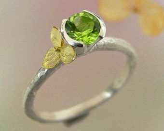 Peridot Stacking Ring, Hydrangea Peridot Ring, Sterling Silver, 18k Gold, Flower Ring, August Birthstone, Botanical Jewelry, Made to Order
