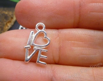 BULK-  50 Silver Plate CHARMS - Open Hearts Charms - Love Charms - Charms Wholesale Lot  -MC0245