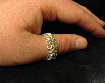 Silver Ring - Chainmaille, European 4 in 1