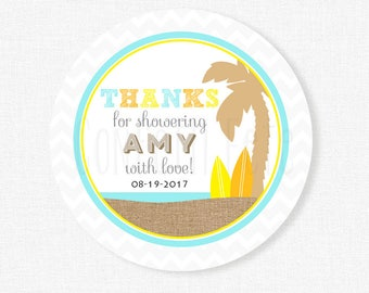 Surf Baby Shower Tags, Little Man Favor Tag, Beach Baby Shower Tag, Baby Shower Thank You Tag Personalized