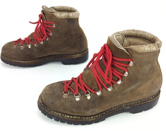 Fabiano Calzaturificio The Alps Women's Vintage Hiking Lace up Mountaineering Ankle Boots Italy Sz. 8 M