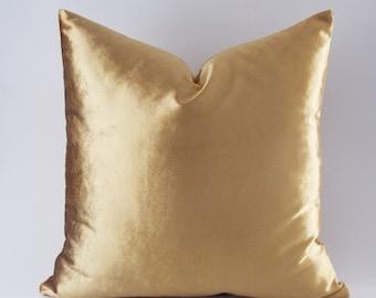 Velvet Solid Gold Pillow Covers, Decorative Velvet Pillows, Throw Pillows,12,14,16,18,20,22,24,26,28,30 inch