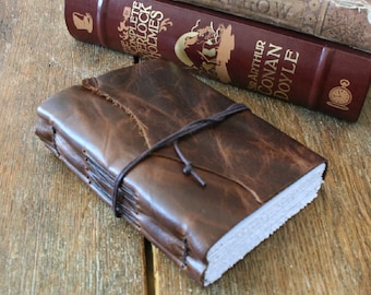 """Leather Travel Journal - J.R.R. Tolkien: """"Not all those who wander are lost"""" . handmade handbound . dark brown (320 pgs)"""