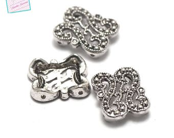 """10 dividers """"double S 2 holes"""" 18 x 14 x 4 mm, silver"""