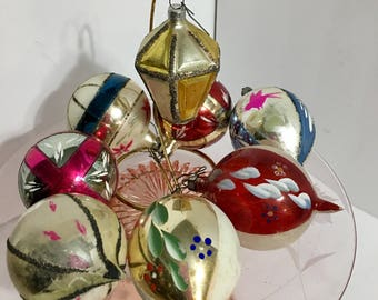 Vintage Germany & Poland Mercury Glass Tree Ornaments