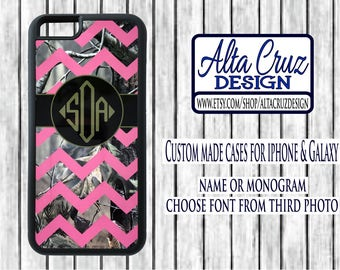 Personalized Chevron Camouflage cell phone case, iPhone or Galaxy, name or monogram #124