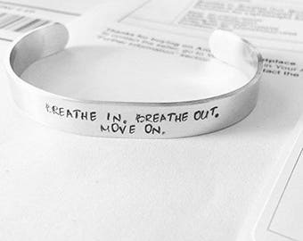 Breathe In Breathe Out Move One | Cuff Bracelet | Awareness Jewelry | Mental Health | Jewelry | Adjustable Bangle | Cuff | Band Bracelet
