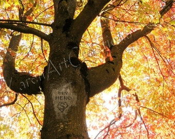 """My Hero, Digital tree carving with message, Strong man tree, Fall Scene, Brave, Honor, Military, Veteran, With/Without Superman """"S"""", 3 sizes"""