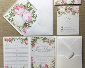 Rose Floral Wedding Invitation Folder (Pocketfold) with Matching RSVP