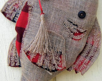 Christmas Stocking Burlap Fish Stocking with Hook - Red and Black Flannel
