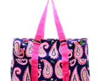 ON SALE - Pink Paisley Small Utility Tote/Tote Bag - Personalized/Monogrammed