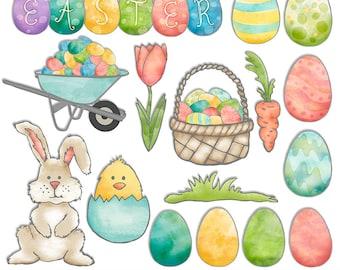 Easter Clipart - Easter Egg Digital Clip Art - Spring Scrapbook - Bunny Eggs Chick Flower Basket Digital Graphics - PNGs - Instant Download