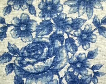 Scandinavian quilt cotton/linen fabric in bone white and blue flower stripes from Sweden 1960s.