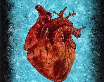 Human anatomical heart original oil painting dark art blue black occult witchcraft