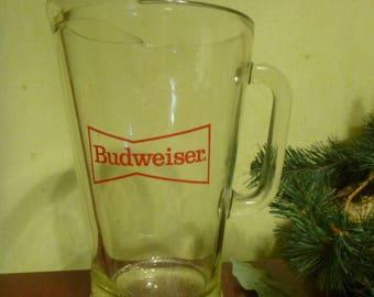 Budweiser Beer Pitcher, Glass Beer Pitcher  (T)