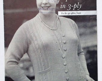 Vintage 1950s Knitting Pattern Women's Sweater Jumper Cardigan Twin Set 50s original pattern P&B No. 299 UK Full Figure Separates L Large