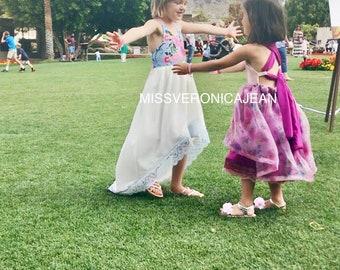 White and floral bohemian layered boho flower girl rustic junior bridesmaid toddler maxi hi low dress