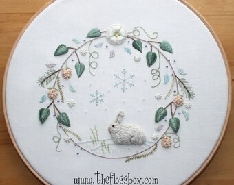 Winter Wreath Stumpwork and Surface Embroidery Pattern