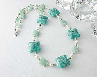 Lampwork Glass, Amazonite and Pearl Necklace