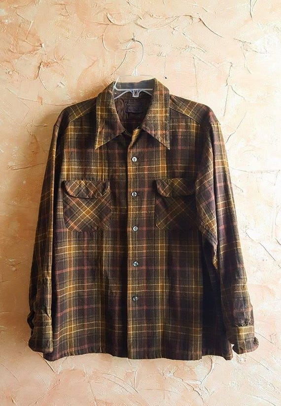60's 70' Northwest Field Shirt Plaid Vintage Pendleton Mens Long Sleeve Rustic Down Plaid Coat Plaid Over 90's Button Wool Wool Back Jacket xpwtT