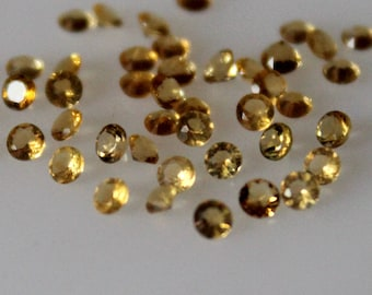 2.5  mm Natural Citrine Round Faceted  Loose Gemstone AAA Quality