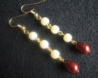 Ivory and Bordeaux Pearl Earrings