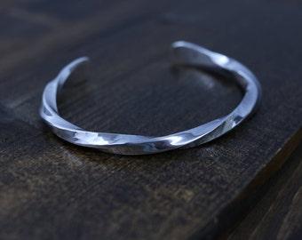 TURNER Bracelet - Hammered Twisted Sterling Silver Bracelet, Bright Polished Finish