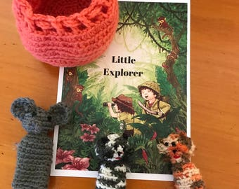 Kids Finger Puppets - Jungle Finger Puppets - Crochet finger puppets