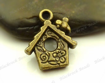 8 Bird House Charms 17x15mm Antique Bronze Tone Metal - Bird House Pendants, Jewelry Supplies - BH3