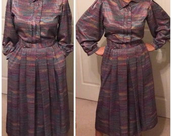 Vintage Doncaster II blouse and skirt set with belt! Color is multi/rainbow.