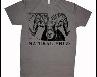 Men's RAM Natural Phi Golden Ratio Screen Printed Shirt Fibonacci Math