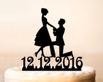 Wedding Cake Topper Silhouette Proposal,Groom proposing to his Bride to be,Proposal Silhouette Cake Topper,Proposing with date Cake Topper84