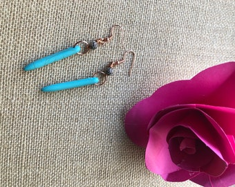 Turquoise Flower  Drop Earrings
