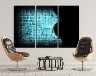 MILWAUKEE Wisconsin Map 3 Canvas Panel Milwaukee Wisconsin Night Lights Modul Map Oversized Horizontal Wall Art Map Modern Art Neon City Map