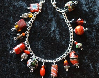 Recycled Vintage Charm Bracelet made with vintage glass beads - fire fairy mix