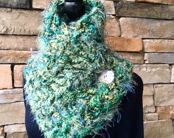 Turquoise Neck Warmer, Buttoned Scarf, Green Neck Wrap