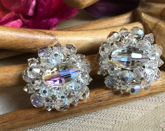 Vintage large clear faceted crystal clip earrings, aurora borealis faceted crystal clips, bride's crystal earrings, crystal prom earrings