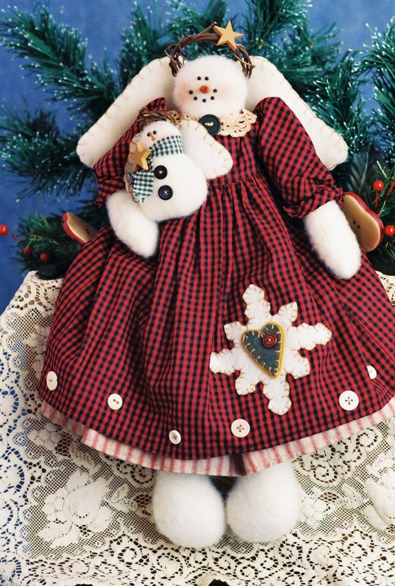 Snowflake and Kittle Flurry - Mailed Cloth Doll Pattern Holiday Snow Angel with Baby