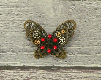Black & Red Steampunk Butterfly Brooch, Steampunk Brooch, Steampunk Pin, Butterfly Pin, Butterfly Jewellery, Steampunk Jewellery