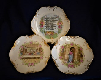 MOTHERS Day GIFT, Religious Plate Decor Trio, House Blessing, Jesus, The Last Supper, 18kt gold trim, Religious, Housewarming