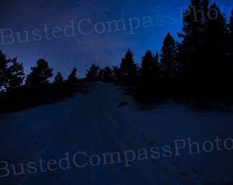 Starry Trail, Landscape, Canvas, Photo, Fine Art, Nature, Decor, Wall Art, Trees, Night, Stars