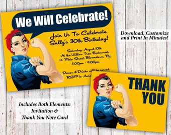 Rosie The Riveter Birthday (or) Party Invitation + Thank You Notes | Editable PDF Instant Download | Edit & Print In Minutes!