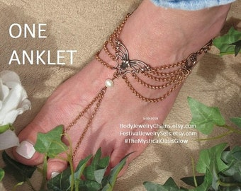 Sale Copper Barefoot Sandals, Butterfly foot jewelry anklet Copper and pearl body jewellery anklets barefoot jewelry toe ring SOLDERED chain