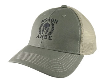 Molon Labe Roman Spartan Warrior Mask in Laurels Black Embroidery on an Adjustable Olive Green Structured Truckers Style Snapback Ball Cap