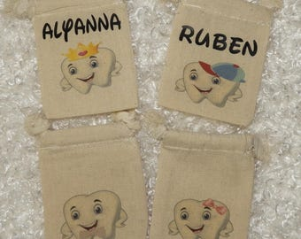 """Personalized (3""""x4"""") Tooth Fairy Muslin Drawstring Bag Pouch"""