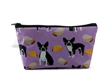 French Bulldog Makeup Bag, Tacos and BurritosMakeup Pouch, Zipper Pouch, Zipper Bag, Dog Cosmetic Bag, Dog Zipper Bag, Dog Pouch