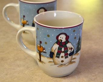Snowmen Serenade II, MUG, Meiwa Table Art, 1997, Snowman with MAILBOX, Holiday Christmas Winter Dishes