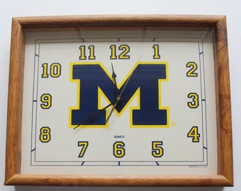 Vintage University of Michigan Wolverines Wooden Wall Clock 1980s