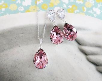 Sandra- Antique Pink Swarovski Crystal Teardrop Cubic Zirconia Teardrop Earrings Necklace Set, Bridesmaid Bridal Jewelry Wedding