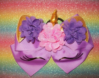 Unicorn Hair Bow - large double bow with ponytail elastic on back - Purple
